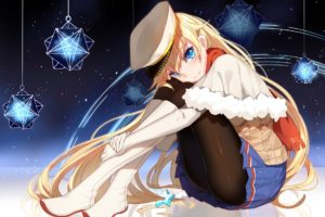 blonde, Long hair, Anime, Anime girls, Zhanjian Shaonu, Aqua eyes, Boots, Cape, Gloves, Hat, Skirt, Pantyhose, Black pantyhose