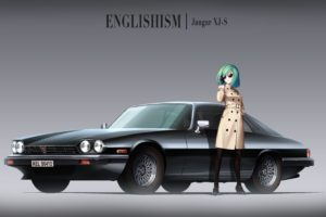 short hair, Anime, Anime girls, Car, Jaguar, Aqua hair, Glass, Jaguar XJS