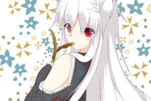 long hair, White hair, Red eyes, Anime, Anime girls, Animal ears, Kitsunemimi