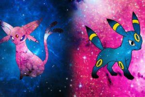 Pokémon, Space, Espeon, Umbreon, Pikachu, Blue, Pink, Dog