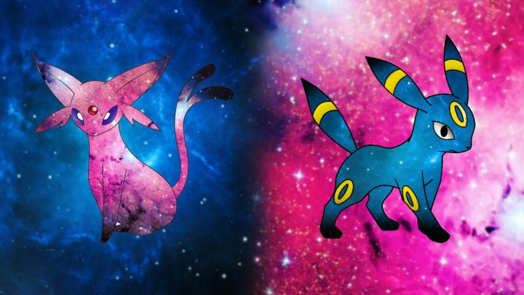 Espeon, Umbreon, Pikachu, Blue, Pink