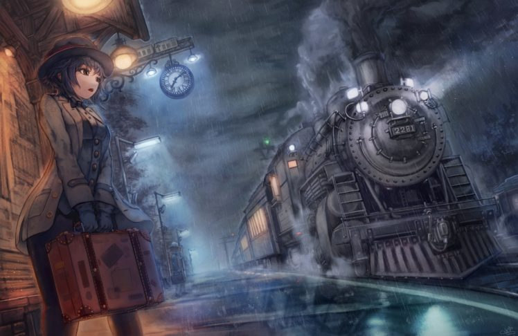 short hair, Anime, Anime girls, Train, Night, Rain, Train station, Black hair, Brown eyes, Hat HD Wallpaper Desktop Background