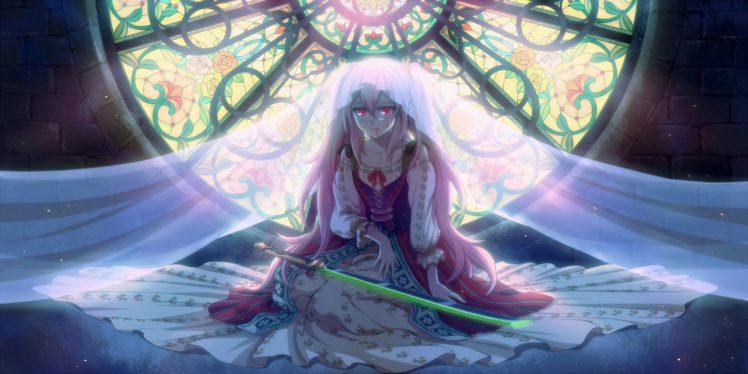 long hair, Pink hair, Pink eyes, Anime, Anime girls, Owari No Seraph, Krul Tepes, Blood, Twintails, Sword, Weapon HD Wallpaper Desktop Background