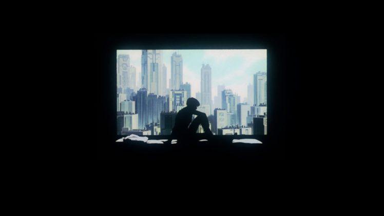 in bed, Women, Ghost in the Shell, Kusanagi Motoko, Cityscape, Bed, Bedroom, Window, Black background, Futuristic, Cyberpunk HD Wallpaper Desktop Background
