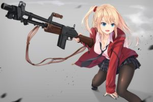 cleavage, Long hair, Blonde, Blue eyes, Anime, Anime girls, Armor, Gun, Weapon, Open shirt, Skirt, Stockings