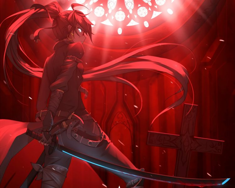long hair, Redhead, Anime, Anime girls, Blood, Cross, Katana, Sword, Weapon HD Wallpaper Desktop Background