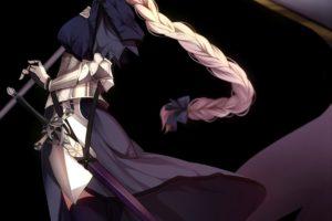 long hair, Blonde, Purple eyes, Anime, Anime girls, Fate Grand Order, Ruler (Fate Grand Order), Joan of Arc, Armor, Sword, Weapon