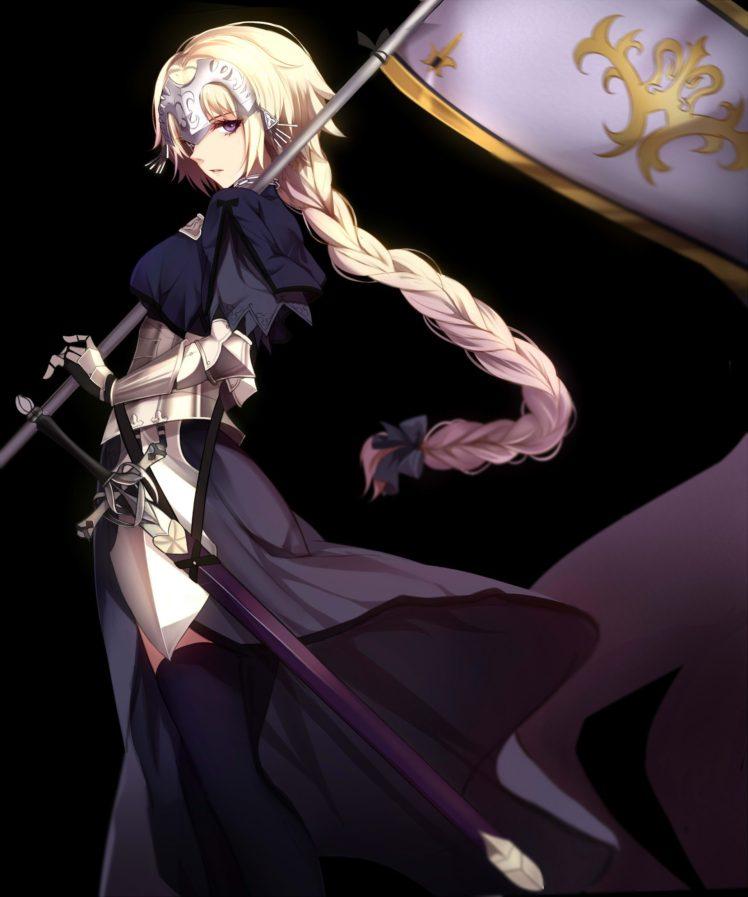 long hair, Blonde, Purple eyes, Anime, Anime girls, Fate Grand Order, Ruler (Fate Grand Order), Joan of Arc, Armor, Sword, Weapon HD Wallpaper Desktop Background