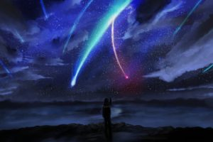 your name., Anime, Stars, Sky, Horizon, Comet, Anime boy