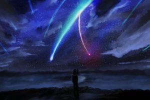 your name., Anime, Stars, Sky, Horizon, Comet, Anime boy