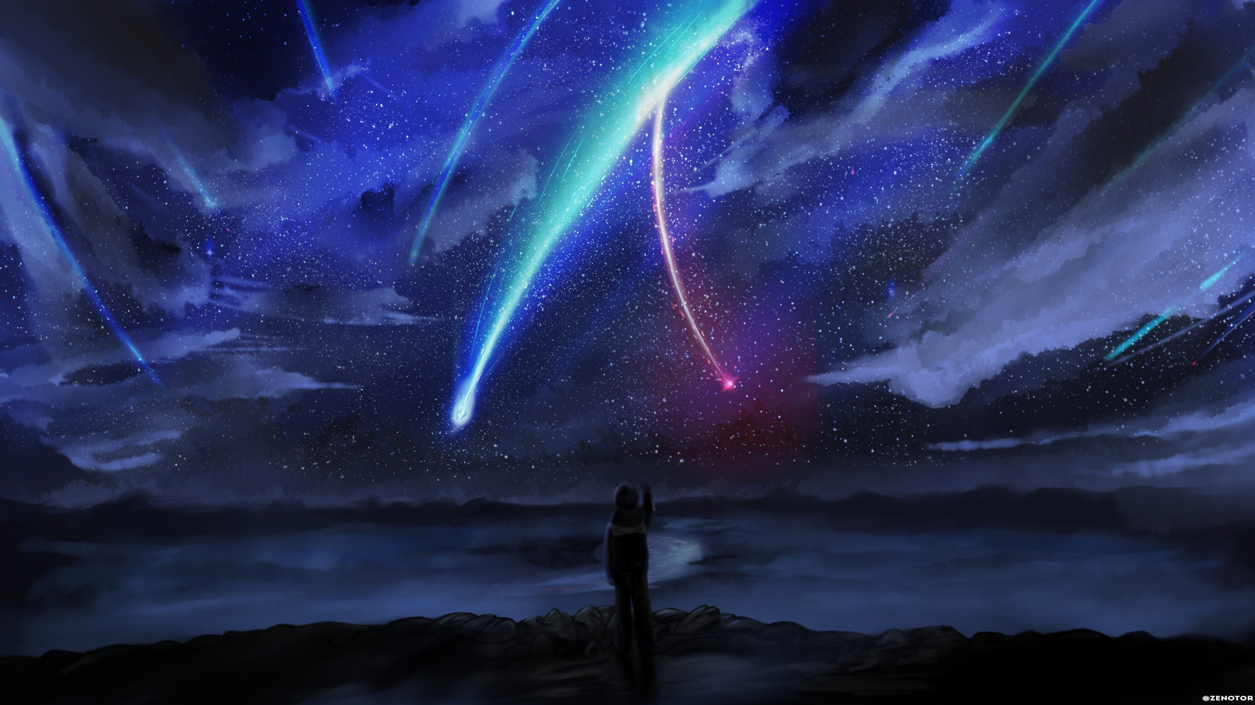 Your Name Anime Stars Sky Horizon Comet Anime Boy