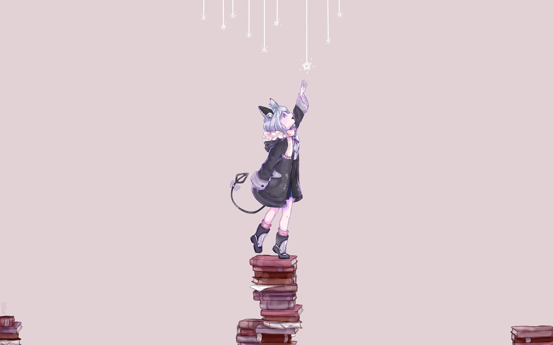 nekomimi, Books, Snow Wallpaper