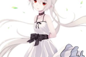 long hair, Red eyes, Anime, Anime girls, Dress, Gray hair
