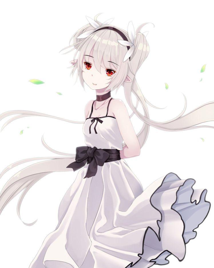 long hair, Red eyes, Anime, Anime girls, Dress, Gray hair HD Wallpaper Desktop Background