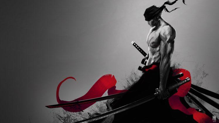 Roronoa Zoro, One Piece, Katana, Selective coloring, Fan art HD Wallpaper Desktop Background