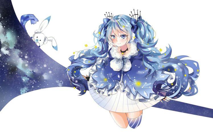 Vocaloid, Hatsune Miku, Twintails, Animals, Rabbits, Thigh highs HD Wallpaper Desktop Background