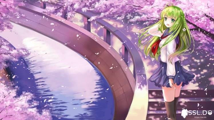 braids, Green hair, Green eyes, Long hair, Anime, Anime girls, Skirt, Stockings, Water HD Wallpaper Desktop Background