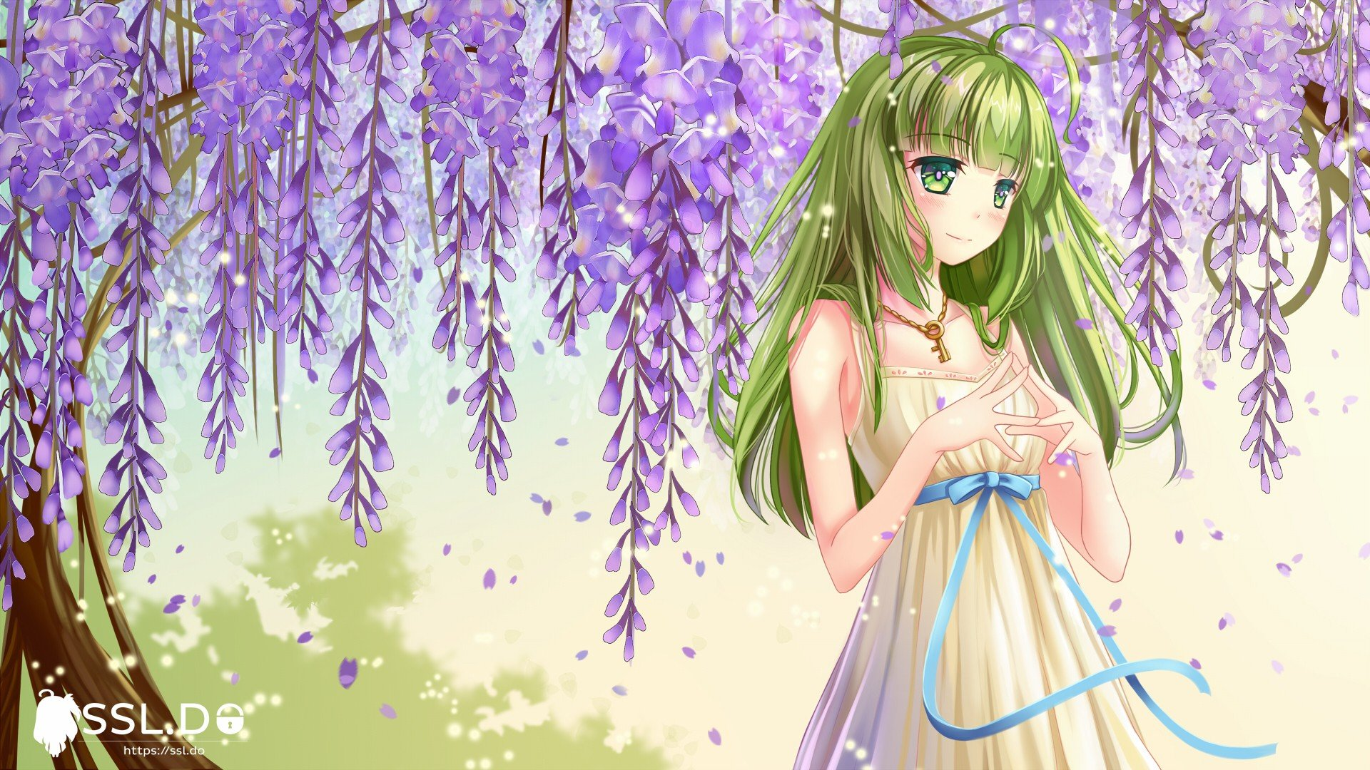 Anime girl with green hair and green eyes