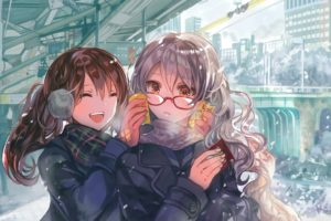 brunette, Long hair, Orange eyes, Original characters, Anime, Anime girls, City, Drink, Glasses, Gray hair, Snow, Winter