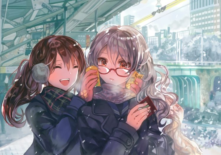 brunette, Long hair, Orange eyes, Original characters, Anime, Anime girls, City, Drink, Glasses, Gray hair, Snow, Winter HD Wallpaper Desktop Background