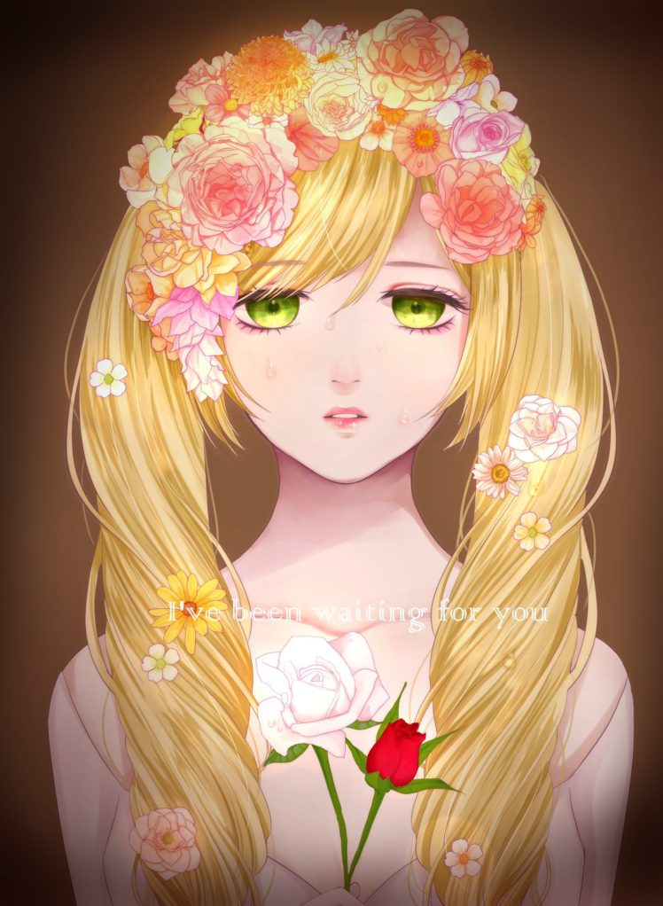 Long Hair Blonde Green Eyes Anime Anime Girls Flowers Crying Hd Wallpapers Desktop And Mobile Images Photos