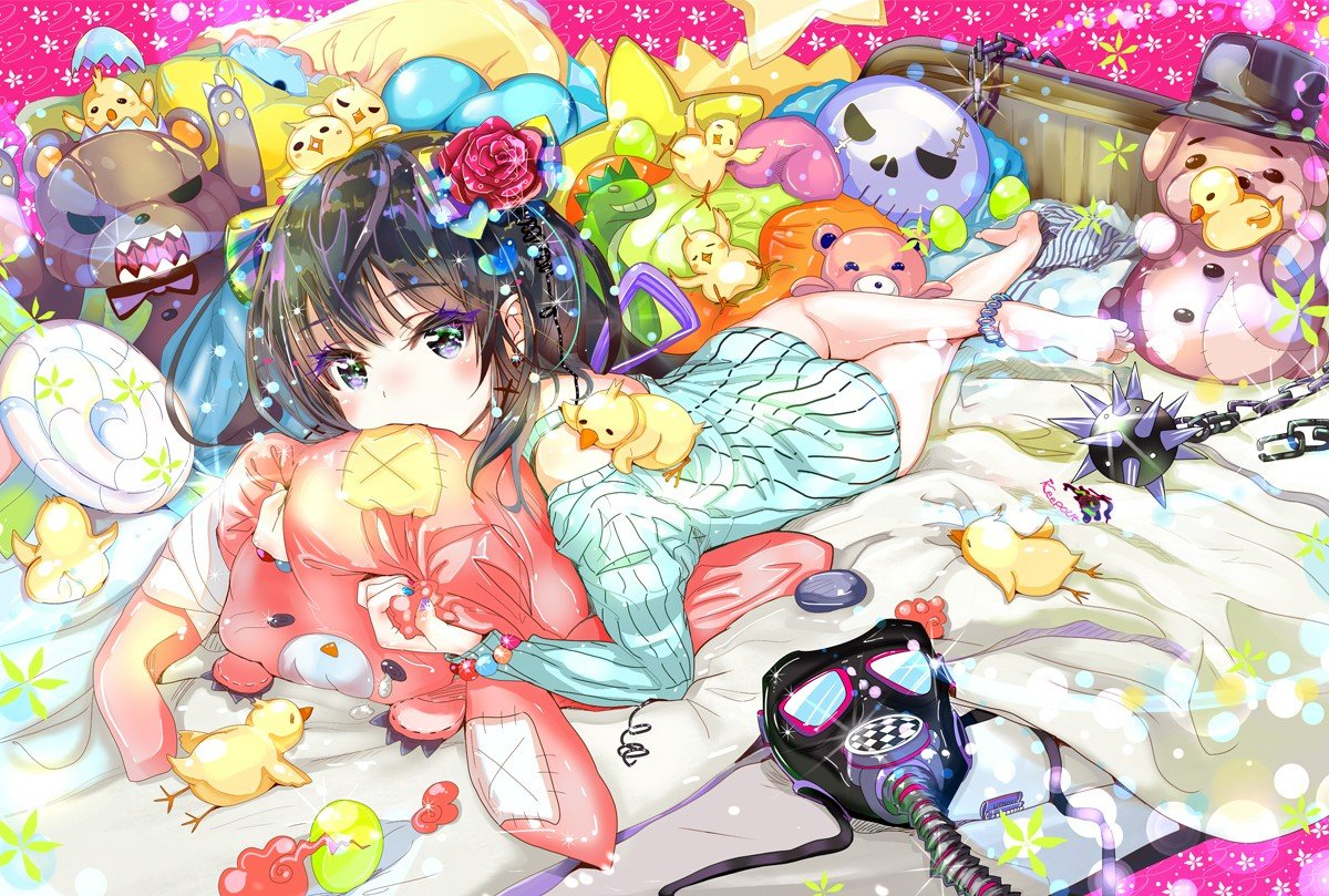 original characters, Anime girls, Animals, Bed, Weapon, Mask, Flowers Wallpaper