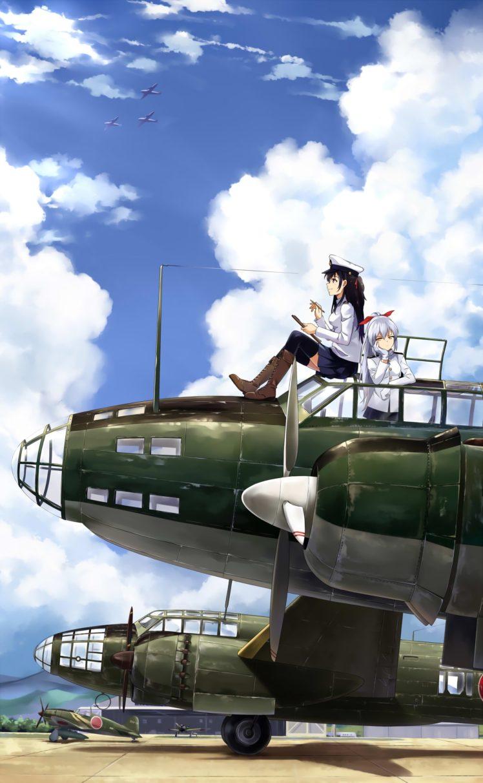 long hair, White hair, Anime, Anime girls, Kantai Collection, Admiral (KanColle), Aircraft, Sky, Clouds, Skirt, Stockings, Uniform, Black hair HD Wallpaper Desktop Background
