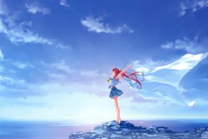 redhead, Long hair, Anime, Anime girls, Sky, Clouds, School uniform, Deep Blue Sky & Pure White Wings