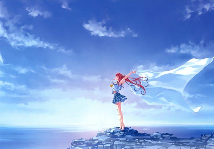 redhead, Long hair, Anime, Anime girls, Sky, Clouds, School uniform, Deep Blue Sky & Pure White Wings HD Wallpaper Desktop Background