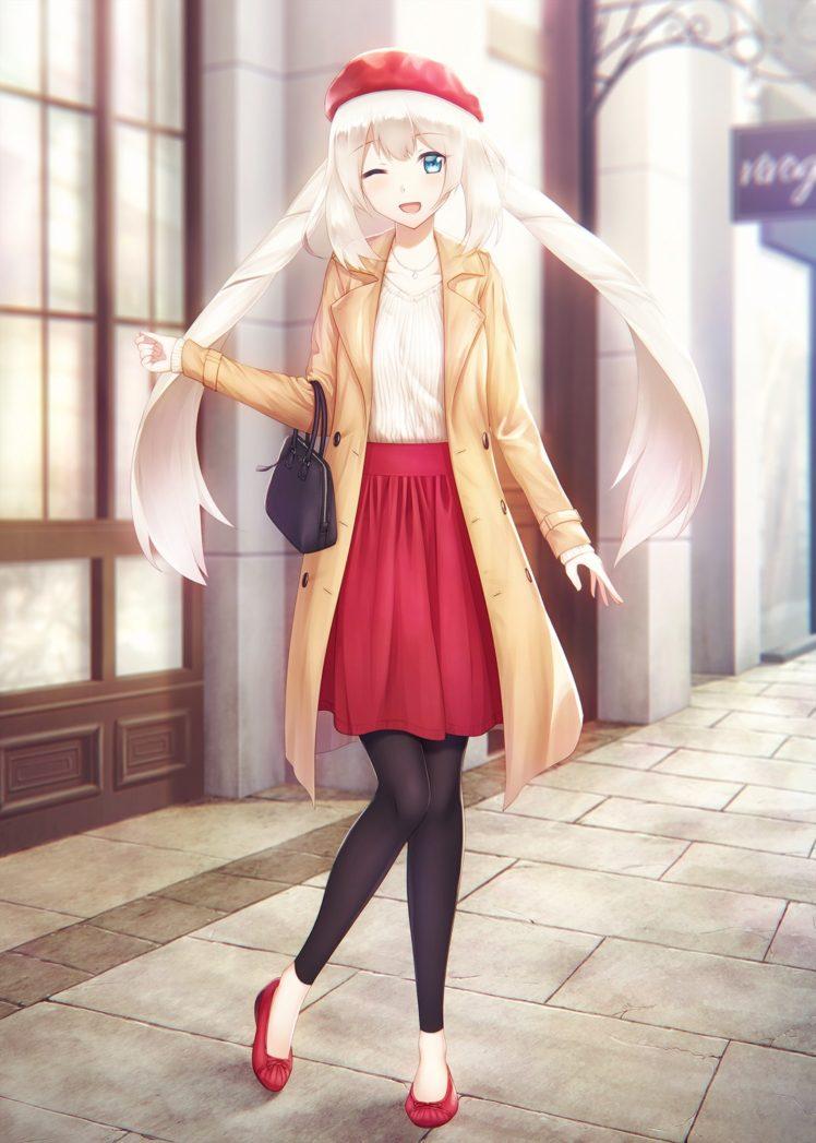 long hair, White hair, Green eyes, Anime, Anime girls, Fate Grand Order, Marie Antoinette HD Wallpaper Desktop Background