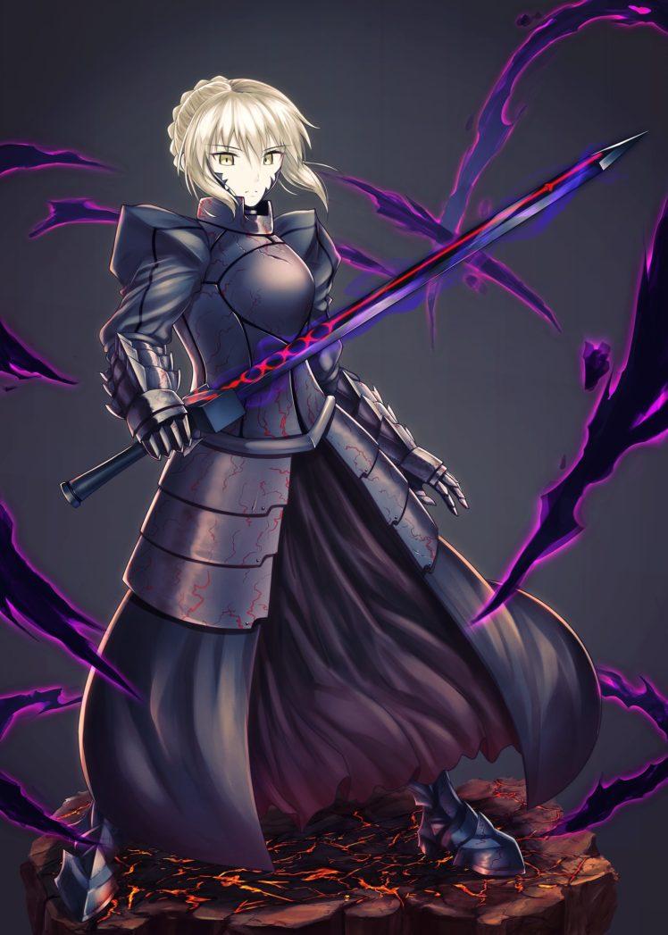 short hair, Blonde, Anime, Anime girls, Fate Stay Night, Fate Grand Order, Saber, Sword, Weapon, Armor, Yellow eyes HD Wallpaper Desktop Background