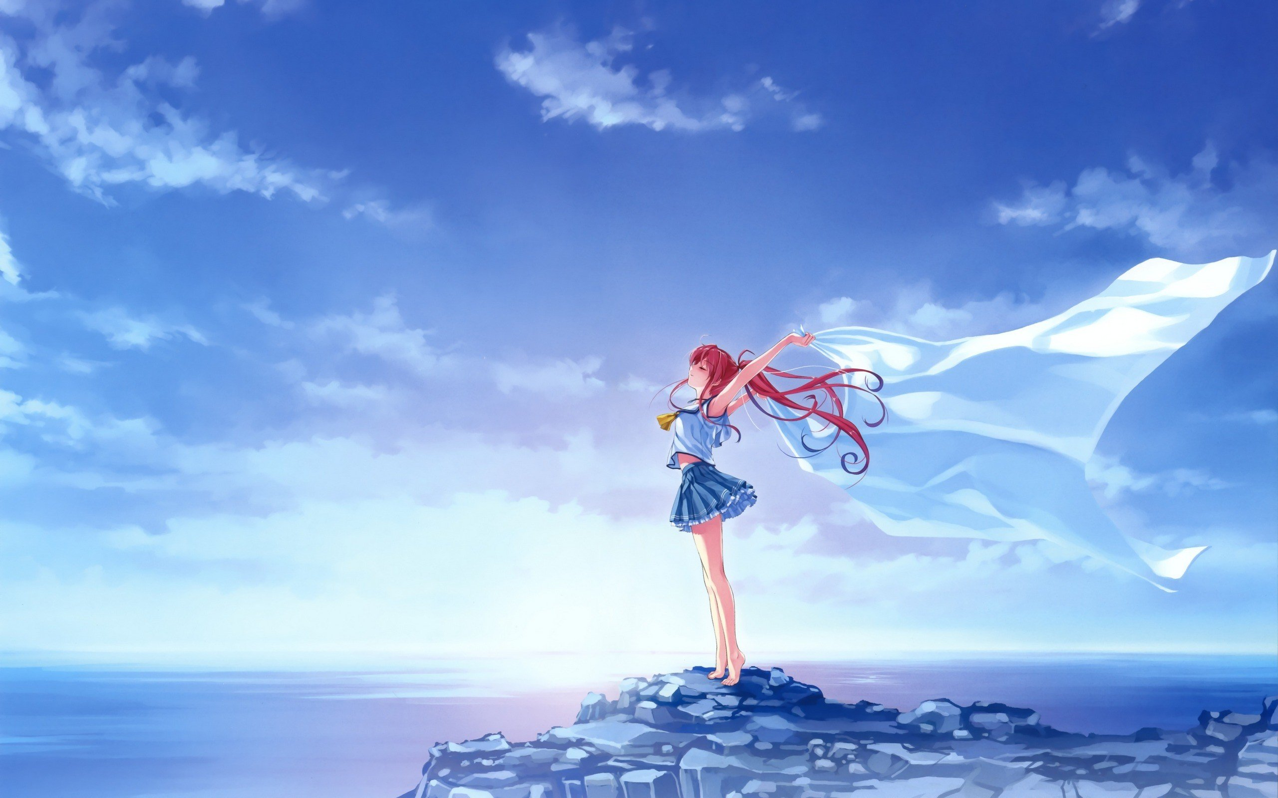Beach landscape sky clouds sea deep blue sky pure - Beach anime girl ...
