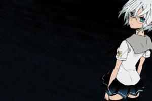 Abeno Chako, Okuse Saki, Short hair, White hair, Blue eyes, Schoolgirl, Witch, Draw   Majo no Nemuru Umi de, Draw Yomi, School uniform, Short skirt, Glasses, Anime, Manga, Anime girls