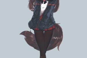 long hair, Red eyes, Brunette, Anime, Anime girls, Imaizumi Kagerou, Tail, Animal ears, Skirt, Touhou