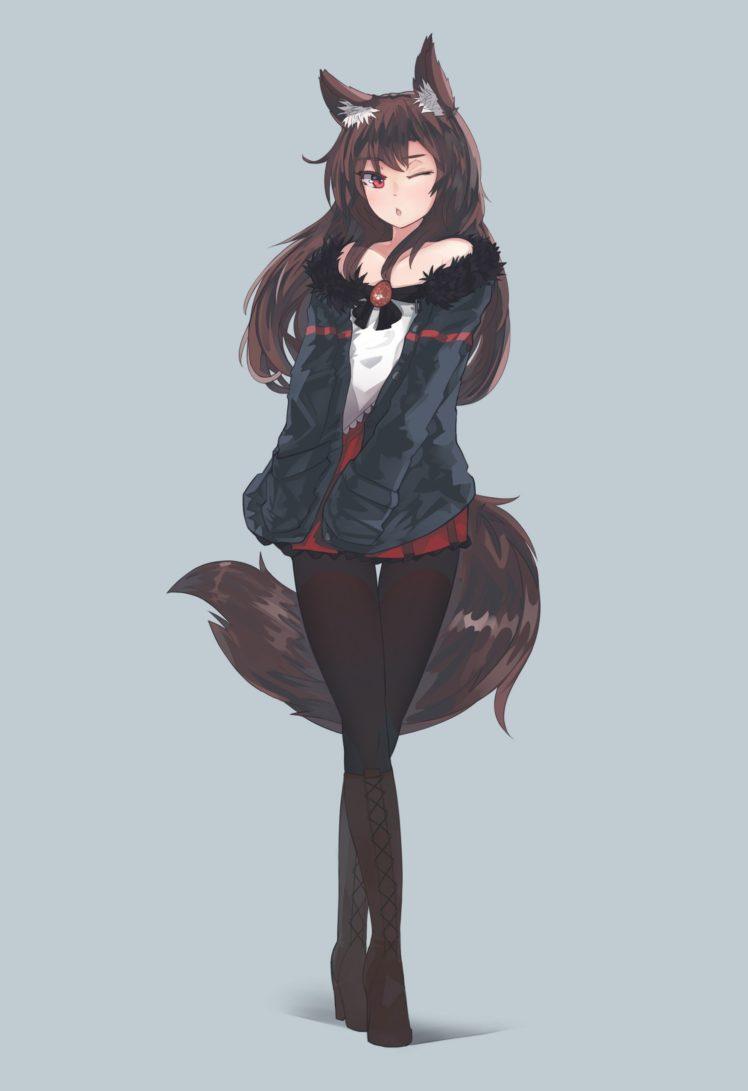 long hair, Red eyes, Brunette, Anime, Anime girls, Imaizumi Kagerou, Tail, Animal ears, Skirt, Touhou HD Wallpaper Desktop Background