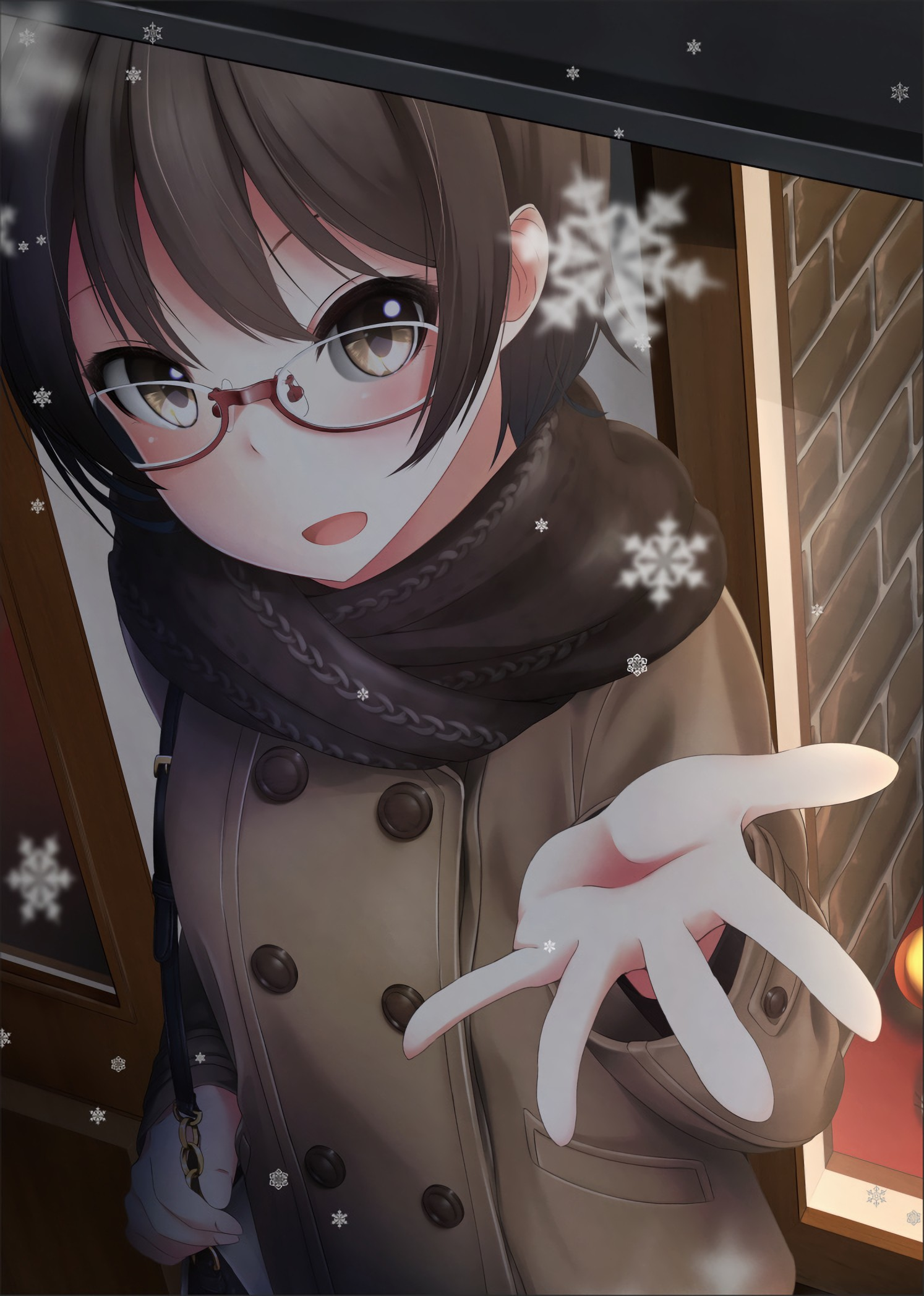 Anime girl with short hair and glasses