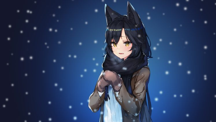 Ahri League Of Legends Ahri Long Hair Anime Anime Girls League Of Legends Snow Animal Ears Black Hair Yellow Eyes Hd Wallpapers Desktop And Mobile Images Photos