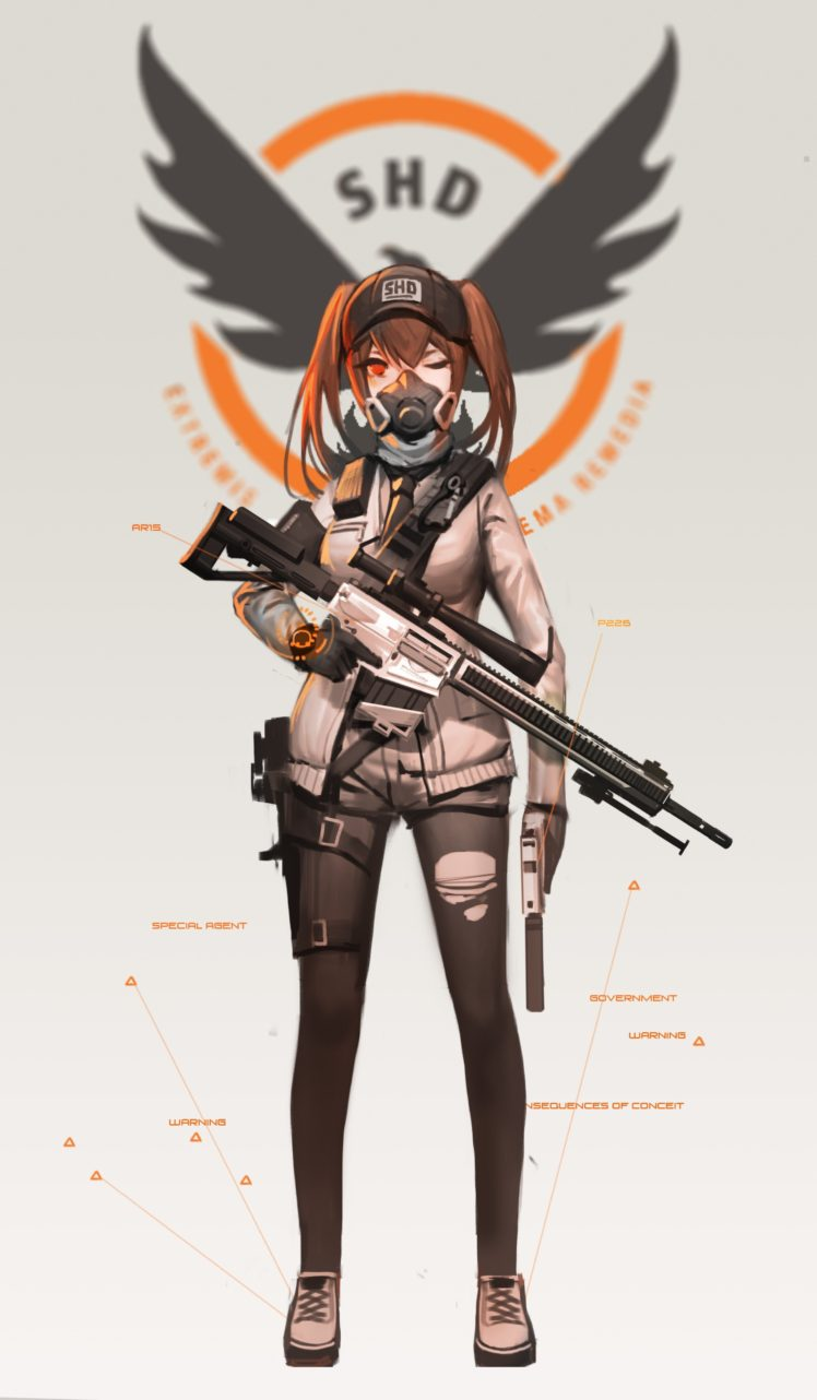 long hair, Brunette, Red eyes, Anime, Anime girls, Tom Clancy&039;s The Division, Twintails, Weapon, Sniper rifle, Gun HD Wallpaper Desktop Background