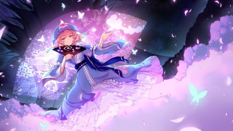 short hair, Pink hair, Red eyes, Anime, Anime girls, Saigyouji Yuyuko, Touhou, Dress HD Wallpaper Desktop Background