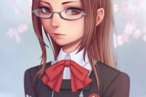long hair, Brunette, Anime, Anime girls, Persona 3, Chihiro Fushimi, Brown eyes, Glasses, Meganekko, Persona series