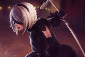 2B (Nier: Automata), Silver hair, Katana, Black dress, Nier: Automata