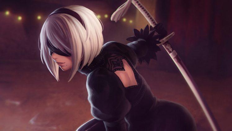 2B (Nier: Automata), Silver hair, Katana, Black dress, Nier: Automata HD Wallpaper Desktop Background