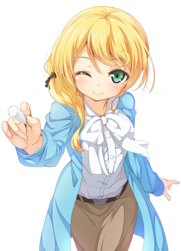 long hair, Blonde, Green eyes, Anime, Anime girls, Ellen Baker, New Horizon HD Wallpaper Desktop Background