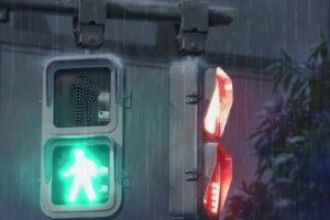 rain, Traffic lights, Red ligths, Light green