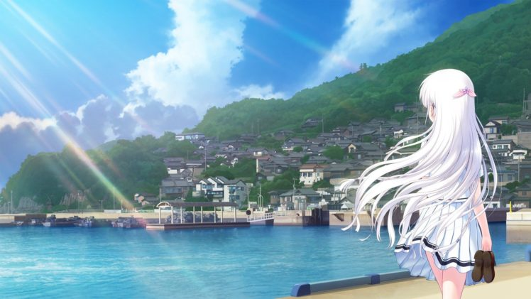 long hair, White hair, Anime, Anime girls, Summer Pockets, Naruse Shiroha, Landscape, Sea, Sky, Clouds HD Wallpaper Desktop Background