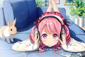long hair, Pink hair, Pink eyes, Anime, Anime girls, Kurumi (Kantoku), Headphones, Rabbits, Twintails, Skirt