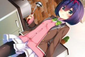 short hair, Purple hair, Gray eyes, Anime, Anime girls, Skirt
