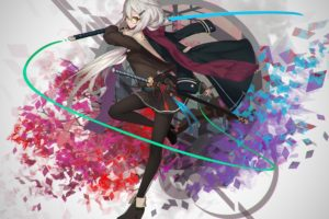 long hair, Anime, Anime girls, Sword, Weapon, Skirt, Gray hair, Yellow eyes, Glasses, Meganekko