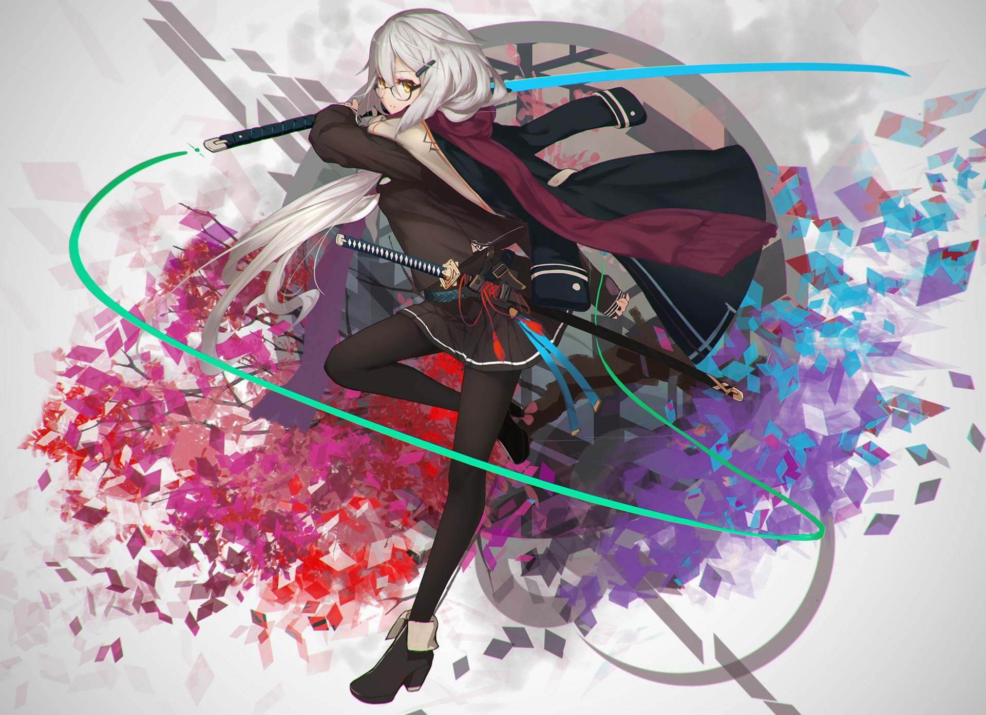 Long hair anime anime girls sword weapon skirt gray - Girl with sword wallpaper ...