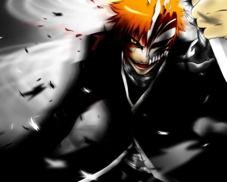 anime, Bleach, Kurosaki Ichigo, Yellow eyes HD Wallpaper Desktop Background